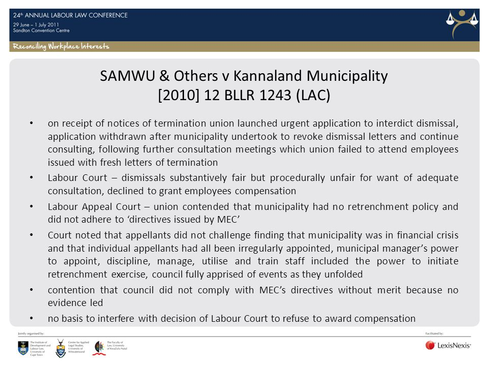 SAMWU & Others v Kannaland Municipality [2010] 12 BLLR 1243 (LAC)